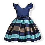 WeeH Girl Dress Gown Party Wedding Ruffles Dresses Ring Bearer Princess Dress Roay Blue 2-3