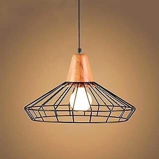 CMES Colgante luz Industrial Vintage Forjado Metal Jaula de Sombra 1-lámpara Colgante de luz luminaria de Techo-Negro