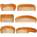 6 Pieces Handmade Wooden Comb Natural Green Sandalwood Hair Comb Wood Wide Teeth and Fine Teeth Comb Wooden Comb Set with Anti-Static and No Snag Handmade Brush for Kids, Women and Men (Cute Style)
