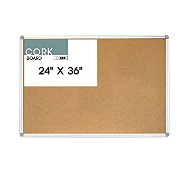 24 x 36 Inch Cork Board – Aluminum Framed Corkboard Bulletin Board for Home, Office or Dorm