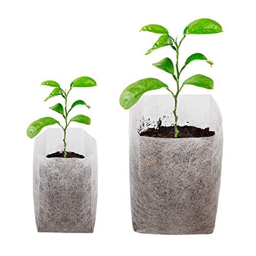CNNIK 400 Stück Pflanzbeutel, Pflanzsack aus Vliesstoff, Pflanz Taschen Biologisch Abbaubar, Perfekt für Aufzucht von Gemüse Blume Obst Pflanzen Kindergarten Zuhause (9x10.5cm und 13.5x14.5cm)