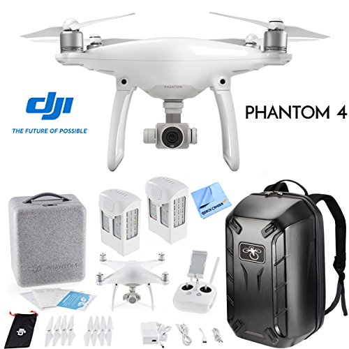 DJI Phantom 4 Quadcopter Drone w/Hardshell Backpack + Spare Intelligent Flight Battery Bundle