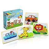 Coolzon Holzspielzeug Baby, 4 Stück Steckpuzzle Tiere + Fahrzeug Holz Spielzeug Lernspielzeug Montessori Spielzeug 1 2 3 Jahre Kinder