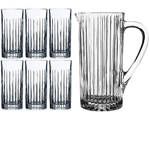 RCR 7pezzi cristallo caraffa in vetro set (One & Six occhiali) brocca 1200ml/1.2l (1.148,2gram) Set di 6bicchieri da 443ml (425,2gram) per la decorazione della casa cucina frigo brocca in vetro acqua latte succo