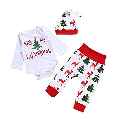 Fossen My First Christmas Disfraz Navidad Bebe niño niña Ropa de Conjunto Monos + Pantalones + Sombrero (0-6 Meses, Blanco)