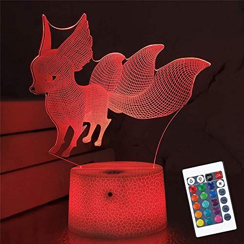 Lámpara de ilusión óptica 3D 3D luz nocturna zorro 16 cambio de color lámpara decorativa con control remoto para sala de estar, cama, bar, mejor regalo juguetes