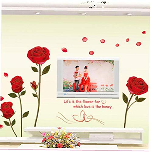 PiniceCore Pvc-3d-rosen-blumen-wand-aufkleber-entfernbare Wand-Aufkleber Wand-DIY Für Tv Wohnzimmer Home Decoration Wallpaper