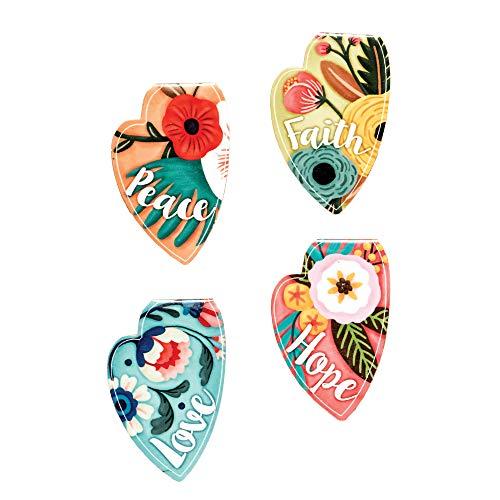 Hearts Peace Faith Love Hope Colorful 8 x 4 Vinyl Bookmark Magnet 4 Piece Set