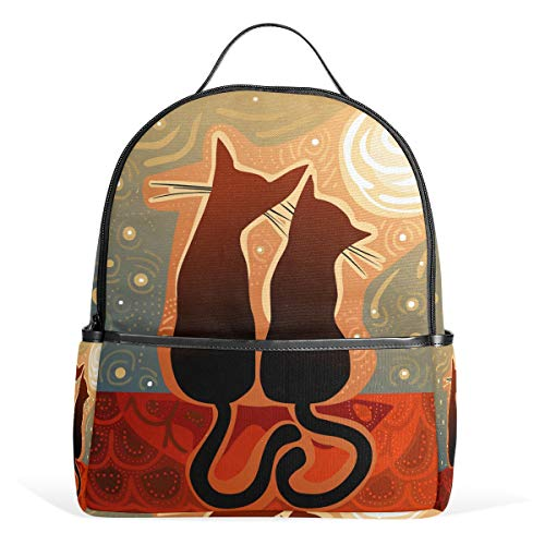 Cats Couple in Love Moonlight Casual Student Backpack, Animal Durable Unisex School Bag Bookbag Daypack Back Bag Shoulder Bag for School Travel