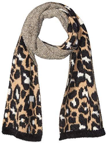 Daily Ritual Print Fuzzy Knit Scarf, Beanie, and Mittens Set Clima frío, Bufanda con Estampado de Animales, Talla única
