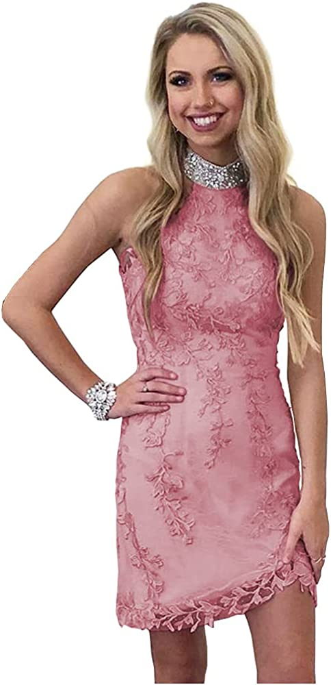 Promworld Women's Open Back Lace Appliques Rhinestones Homecoming Dresses Tight Halter Cocktail Dresses