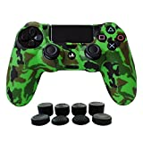 Hikfly Silicone Gel Controller Cover Skin Protector Compatible for Sony Playstation 4 PS4/PS4 Slim/PS4 Pro Controller (1 x Controller Cover with 8 x FPS Pro Thumb Grip Caps)(Green)