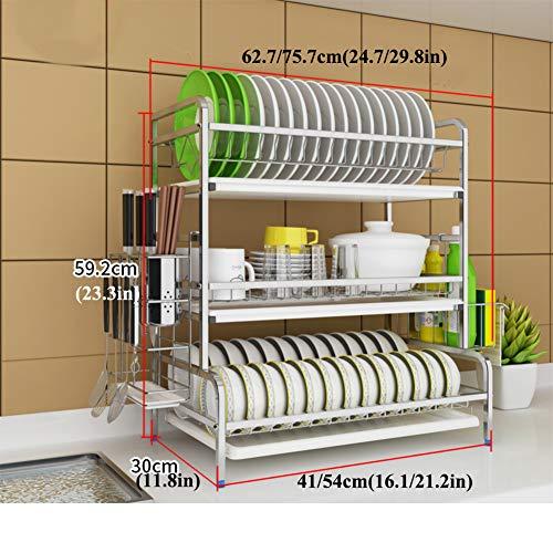 L&T Küche Geschirrkorb,3 Tier Edelstahl Abtropfgestell Mit Utensil Halter Und Abtropfschale Besteckkorb Für Arbeitsplatte Silber 54cm(21inch)