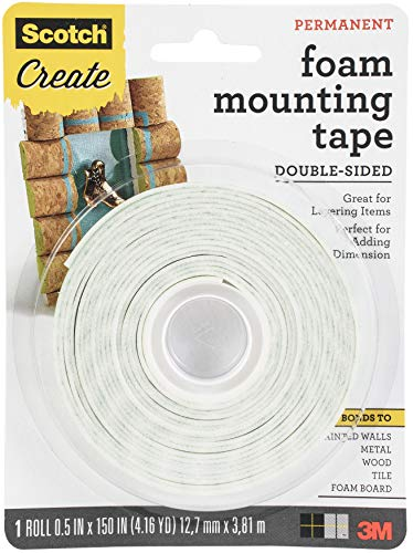 Scotch Foam Mounting Tape, 1/2-in x 150-in, White, 1-Roll