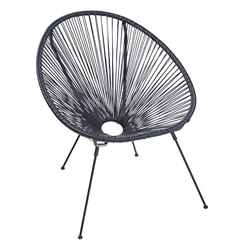 Invicta Interior Moderner Acapulco Sessel schwarz wetterfest Outdoorstuhl Relaxsessel Stuhl Gartenstuhl