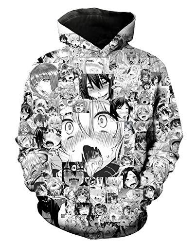 NUOHUX Men's Ahegao Hoodies Japanese Anime Face 3D Print Pattern Fashion Women's Sweatshirt (o3,M