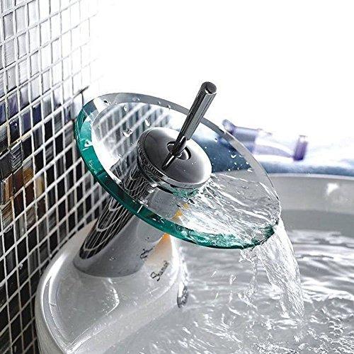 Einhand-Runde Glasauslauf Wasserfall Waschbecken Wasserhahn Chrom-Finish Badewanne Mischer-Hahn-Toilette Vanity Armaturen - 2