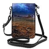 HTDG téléphone portable sac à main bandoulière nébuleuse dans le désert Monument Valley paysage femmes Pu cuir mode sac à main avec sangle réglable