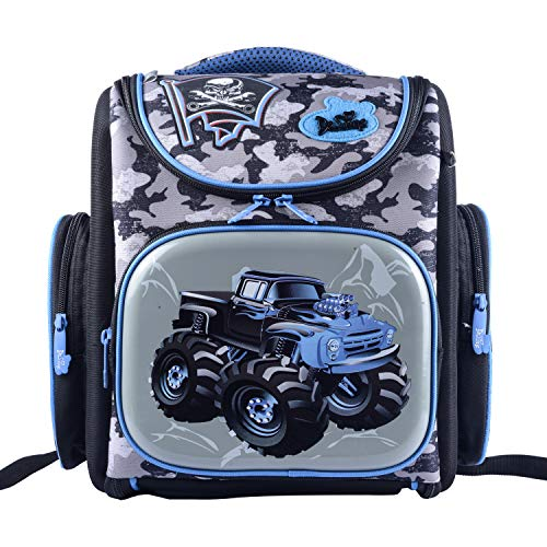 Delune 3D Cartoon Kids Boys Girls Toys Lightweight Backpack | Water Resistant Isolated Back to School Bag (Tractor)