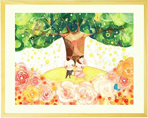 結婚記念日 結婚祝い 絵画アート 「Shine Tree」 【名前入れ・Mサイズ】 プレゼント 人気ランキング 入籍祝い 友人 女友達 妻 夫 嫁 両親 娘 贈り物 ギフト 贈り物