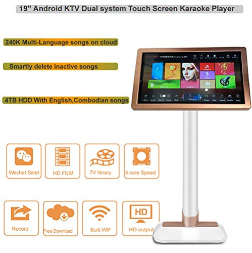 Fantastic Deal! HAJURIZ 19'' Touch Screen Karaoke Player,4TB HDD Preloaded with English,Cambodian so...