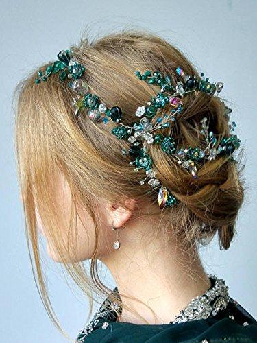 Kristallbesetzter Haarreif von FXmimior, mit Vintage-Optik für Hochzeiten, Diadem mit maßgeschneidertem Blumenkranz für Abendpartys, als Hochzeits-Kopfschmuck