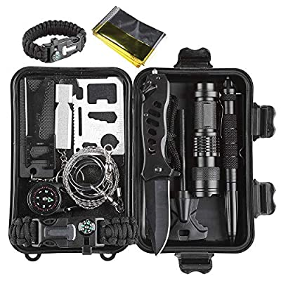 CO-Z Survival Kit for Emergency Camping Hiking, All In One Professional Little Outdoor Survival Gear Tool with Tactical Knife/Pen Fire Starter Flashlight Saber Card Compass for Kids Adventure Lovers from CO-Z