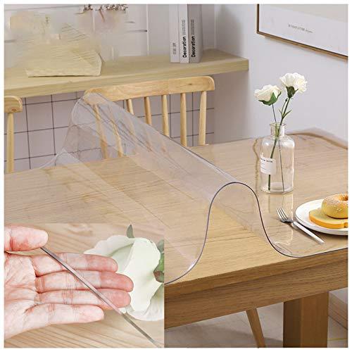 Protector de mesa de PVC transparente, protector de mesa de plástico, impermeable, resistente al aceite, antiquemaduras, ideal para uso en interiores y exteriores, protege tus mesas