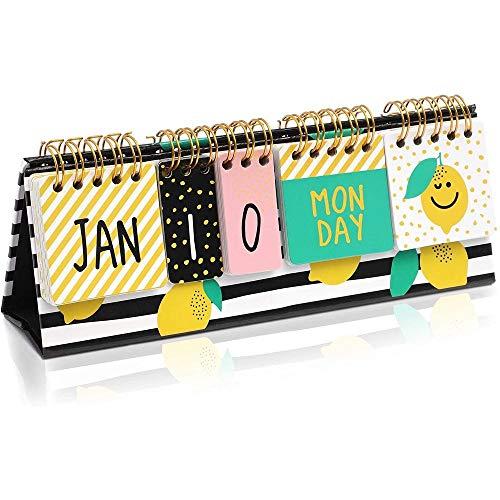 Lemon Desktop Flip Perpetual Paper Calendar 87 x 3 in for Home Desk Décor