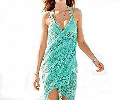 Bllomsem Mujeres Pareos Encaje de Punto Playa Protector Solar Vestido Traje De Baño Bikini Cubierta hasta Ropa De Playa (Verde)