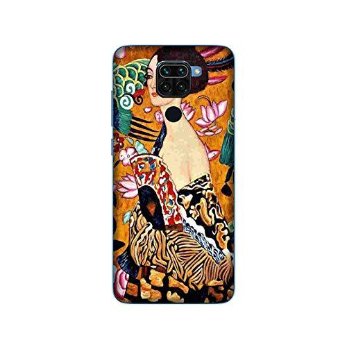 Funda Redmi Note 9 Carcasa Xiaomi Redmi Note 9 Gustav Klimt MUJER CON VENTILADOR / Cubierta Imprimir también en los lados / Cover Antideslizante Antideslizante Antiarañazos Resistente a golpes Prote