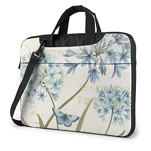 Bolsa para portátil de 13-15,6 Pulgadas Mariposas y flores azules Bolso de Hombro para portátil Bolso de Hombro Elegante Ordenador Portátil