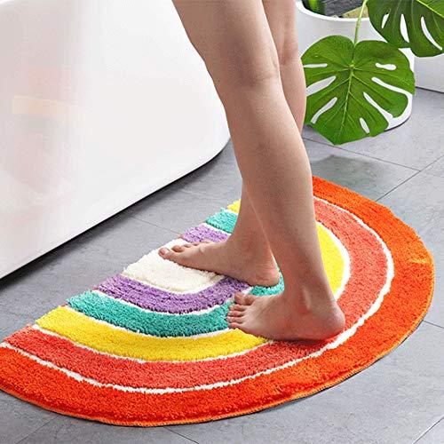 Cozyhoma - Felpudo semicircular de arco iris, para entrada, dormitorio, sala de entrada, media luna, alfombra absorbente de agua para dormitorio interior y media luna antideslizante