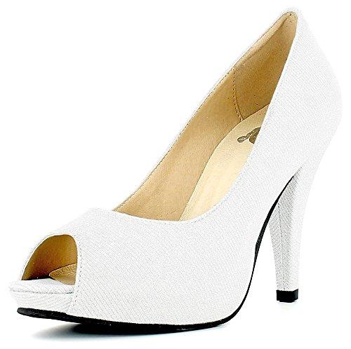 Das Kostümland Glitzer Peeptoe Damen Schuhe - Weiß Gr. 43
