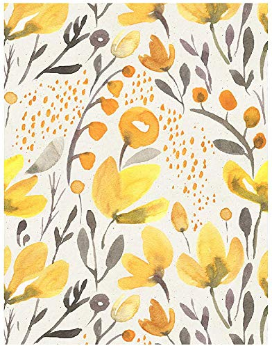 Blooming Wall PS032 Peel&Stick Handpainting Watercolor Seamless Yellow Fresh Floral Kapok Self-Adhesive Prepasted Wallpaper Wall Mural