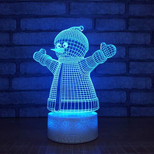 KangYD 3D Night Light Creative Snowman Xmas, LED Optical Illusion Lamp, E - Alarm Clock Base(7 Color), Birthday Gift, Halloween Gift, Decor Lights, Touch LED, Decor Lamp