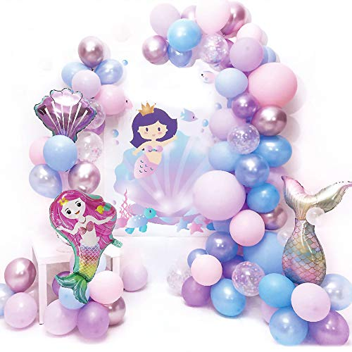 Mermaid Balloon Arch Garland Kit Mermaid Decorations Foil Balloon Purple Blue Latex Balloons Golden Silver Sequined Balloon Party Supplies for Kids Girl Sea Birthday Themed Party Baby Shower Wedding