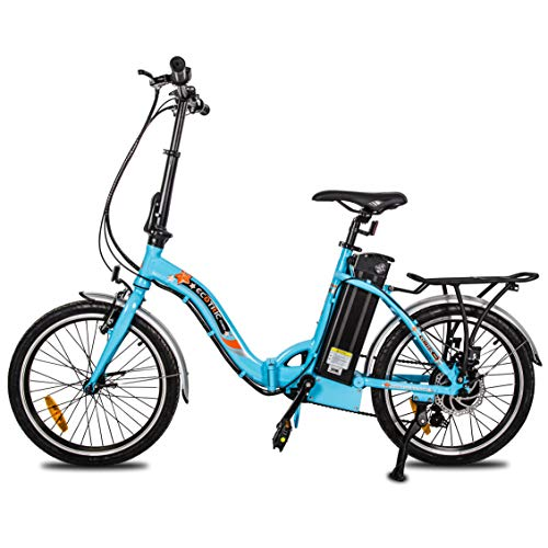 ECOTRIC 20' Folding Electric Bicycle City Bike Ebike Alloy Frame 350W 36V/10AH Removable Lithium Battery Pedal and Throttle Assist LED Display (Blue)