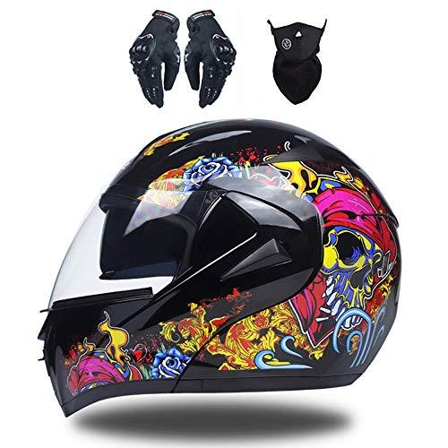 MRDEAR Casco de Moto con Guante Mascarilla, Adultos Modular Integral Casco Moto Set para Ciclomotor Motocicleta y Scooter Mujer Hombre, Doble Visera (S,M,L,XL),B,M