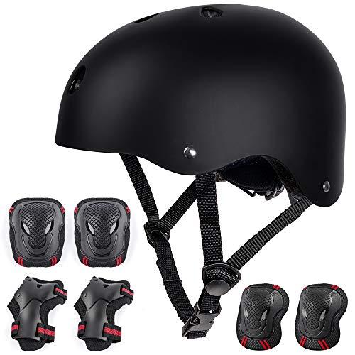 arteesol Skaterhelm Skateboard Helm Kinder Fahrradhelm CE-Zertifizierung Herren Damen Jungs & Kinderhelm (Black Set)