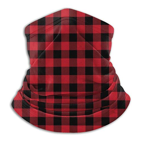 Red Black Buffalo Check Plaid Face Mask Cover Dust Sun Protection Neck Gaiter Warmer Adjustable Balaclava Scarf