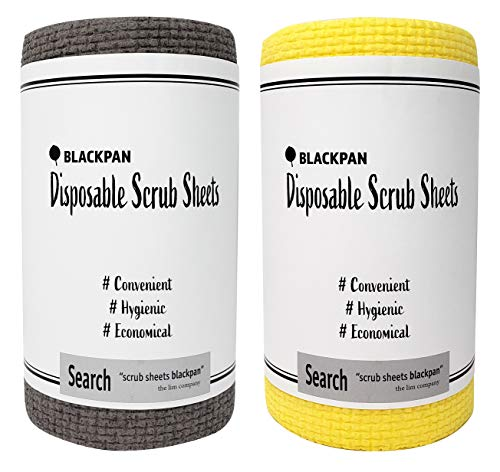 BLACKPAN Scrub | Disposable Scrub Sheets | Paper Towel Format | Antimicrobial | Non-Scratch | Cleaning Supplies | Dishwashing | Sponges Kitchen | Scouring Pads | Kitchen Cloths (2 Rolls)