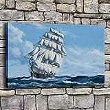 NIMCG Cartel Impreso en Lienzo Arte de la Pared Velero en Choppy Sala de Estar Imagen del Paisaje Marino Decoración para el hogar (sin Marco) R1 50x70CM