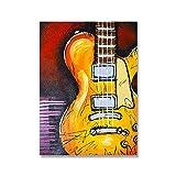 HNGFV Guitarra eléctrica Piano Poster e Impresiones Acuarela Lienzo Pintura Música Arte de la Pared Moda para la Salon de Estar Decoracion de la Pared Cuadros 60x80cmx1 Sin Marco