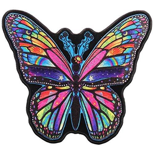 Bügelflicken zum Aufbügeln, Motiv: Regenbogen-Schmetterling, bestickt, 15,2 x 20,3 cm