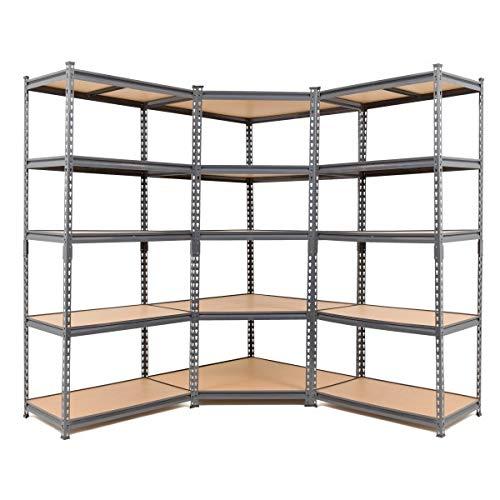Eckregal aus Stahl mit 2 Ablagefächern, 1800 x 900 x 450 mm, Grau