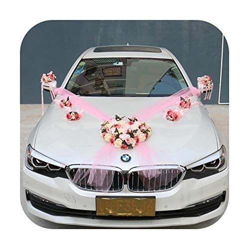 Hopereo Decoración de boda Flor de coche Cortina Artificial Flor de Agua Guía de Decoración de Novia Muñeca Flor y Broche de Casa Correa-05 Set 8pcs