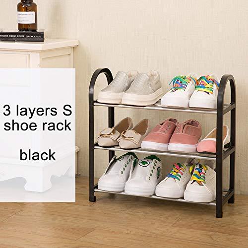 XKMY Estante de almacenamiento de zapatos moderno organizador de zapatos para el hogar, zapatos simples gabinete, armario de montaje gratuito, muebles plegables multiusos (color: 3L S negro)