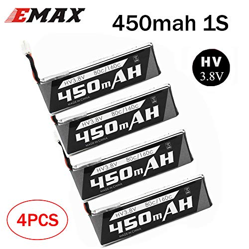 SoloGood Emax Tinyhawk Whoop hv s LiPo Battery 450mAh 1S 3.8V 85C LIHV for cinewhoop tinyhawk JST-PH 2.0 Powerwhoop Connector Micro FPV Drone(4 Packs)