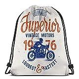 KKs-Shop Bolso de Mochila con cordón, Saco de Gimnasia, Jinete de Motocicleta Superior Hecho a Mano Letras tipografía de café Vintage